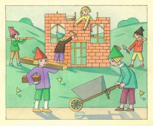 """מתוך מסע הדג, מאת תום זיידמן פרויד. הקיר הוורוד הוא לגמרי תפאורה של בית נבנה, ולא בית """"אמיתי"""""""