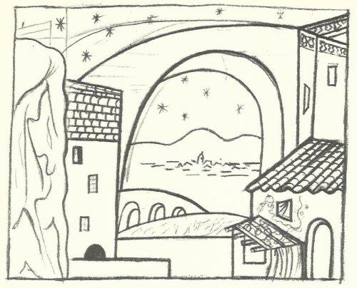 פיקאסו, סקיצה לתפאורה לבלט הכובע משולש הקצוות
