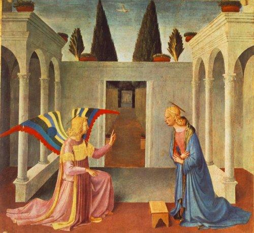 פרה אנג'ליקו, המאה ה15, כנפיו (הכה עכשוויות בגרפיותן) של מלאך הבשורה