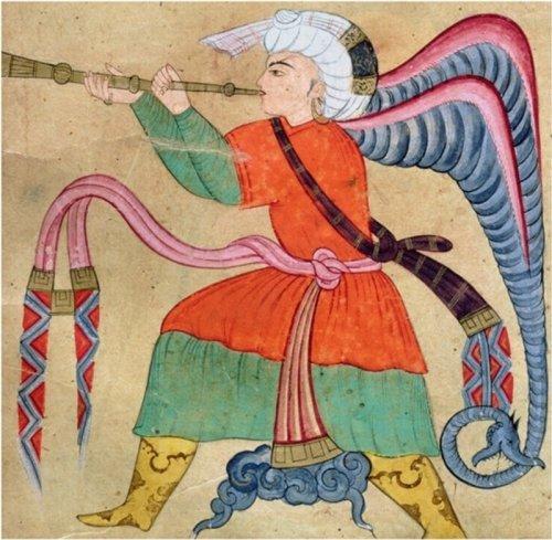 איסראפיל, מלאך (יום הדין?) מכתב יד מוסלמי. שימו לב לקצה הכנף שלו.