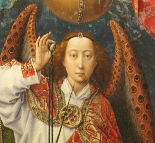 רוחיר ואן דר ויידן, המאה ה15, פרט מתוך יום הדין האחרון. אחרי שכתבתי את הרשימה גיליתי עוד מלאכים עם כנפי טווס, למשל המלאך הזה ששוקל את הנשמות וחטאיהן.