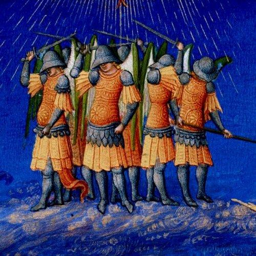 פרט מתוך ספר השעות של האחים לימבורג, המאה ה15הפעם לא בגלל הכנפיים, יש משהו מצחיק ומהפנט בקבוצת המלאכים הזאת
