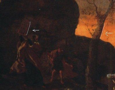ניקולא פוסן, פרט. משה יורד עם לוחות הברית ועם נערו. מאד חשוך אבל ישנו. זווית העץ מתחרזת עם זווית לוחות הברית
