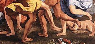 ניקולא פוסן, פרט מתוך בכחנליה לפני פסל פאן.  ריתק אותו כנראה הגילוי הזה של החייתי.