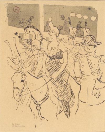 הליצנית צ'ה אוּ קָאוֹ נכנסת לזירה, הנרי דה לוטרק לוטרק 1895 (מצטערת, את איורי הספר אני לא אוהבת)