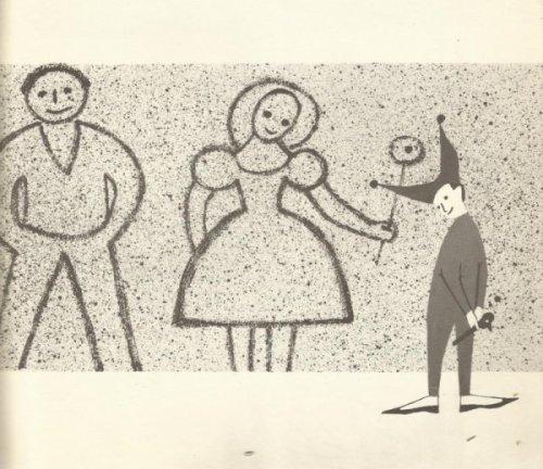 """איור של מוניקה לספר """"יונתן משהו"""" של פרנסואה רג'י בסטיד. כאן יונתן, ילד-ליצן בודד שצנח מן השמיים, מצייר לעצמו הורים בחול."""