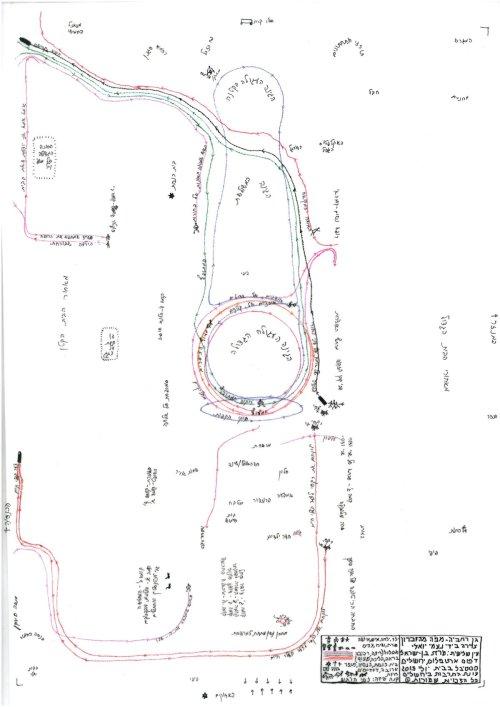 """""""מפה מהזיכרון"""", ציירה נעמי יואלי, המפה העליונה השקופה, מסלולים בלבד, לחצו להגדלה."""