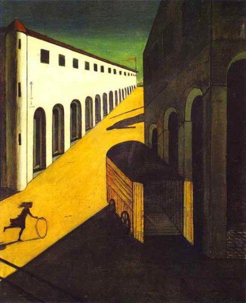 """ג'ורג'ו דה קיריקו, """"המסתורין והמלנכוליה של הרחוב"""", 1914"""