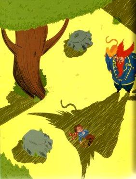 """איור, אביאל בסיל, מתוך """"גור חתול-אדם ארוך שיער"""". הפעם זנב הצל מושאל מן הקוף היושב על כתפו של חבקוק."""
