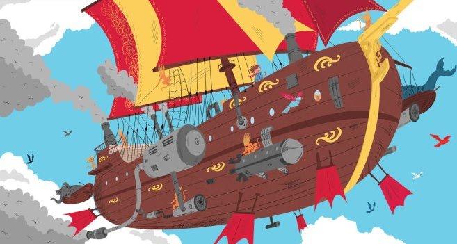 """ספינת האוויר. איור, אביאל בסיל, מתוך """"גור חתול-אדם ארוך שיער""""."""