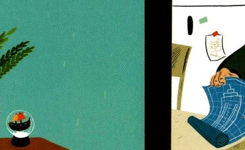 """איור (פרט), אביאל בסיל, מתוך """"גור חתול-אדם ארוך שיער""""."""