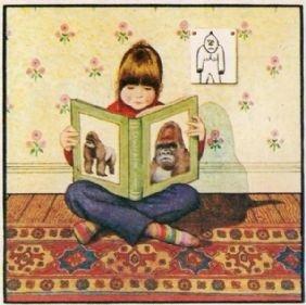 """אנתוני בראון, """"גורילה"""", הצל של קצה הספר הופך למעין זנב של קוף הצל."""