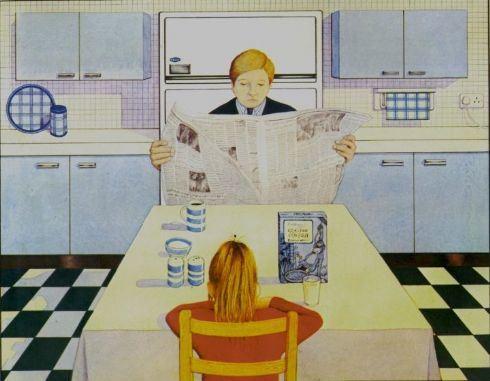 """איור, אנתוני בראון, מתוך """"גורילה"""", ארוחת בוקר"""