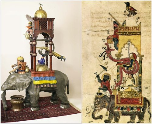 שעון הפיל, מימין תמונה מן הספר, משמאל הדגם מן המוזיאון.