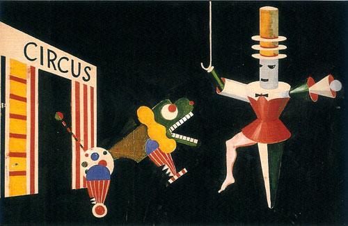 שילוב של חי ודומם בקרקס של אלכסנדר שבינסקי, מאמני הבאוהאוס, 1924