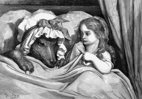 כיפה אדומה, סצנת המיטה, אייר גוסטב דורה