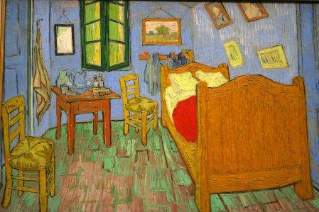 וינסנט ואן גוך, חדר השינה בארל, 1889 (לא, הוא לא הפך פתאום לאמן פופ, הוא כאן בשביל הרוי ליכשטנטיין שאחריו)