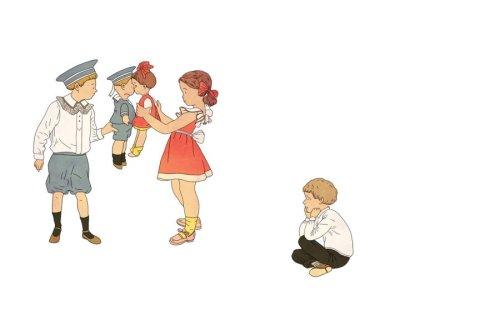 """איור: בתיה קולטון (ל""""דני גיבור"""" של מרים ילן שטקליס, מתוך """"שרשרת זהב"""") לחצו להגדלה."""
