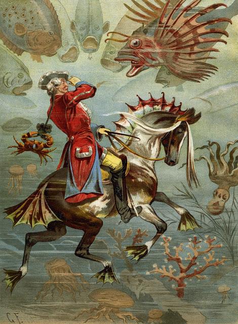 הברון מינכהאוזן מתחת למים. אייר גוטפריד פרנץ 1896