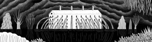 """מתוך """"אבק"""", אנימציה: שמרית אלקנתי ורוני פחימה. המים פורצים מהחלונות כמו מתוך העיניים."""