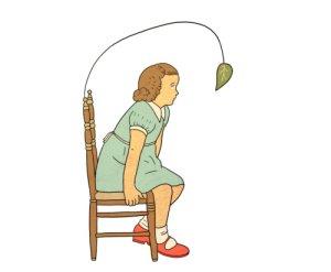 ילדה מחכה לעלה נושר, איור בתיה קולטון, מתוך האוסף הכי הכי.