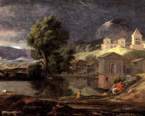 ניקולא פוסן, נוף עם פירמוס ותיסבי (פרט), על המטמורפוזה של הנאהבים האומללים שהתאחדו בתוך עץ, כתבתי פה.