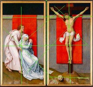 רוחיר ואן דר ויידן, צליבה 1460, קומפוזיציה של צלבים ואיקסים