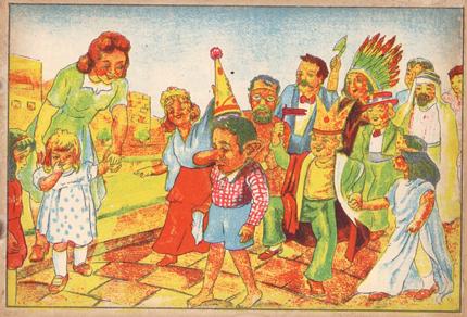 """מתוך """"היה ילד טוב"""" גרסה עברית חינוכית שבה הופך יעקב הגרמני לזכריה הילד הירושלמי התימני. עוד על העיבוד האקסטרימי הזה בפוסט של זאב אנגלמייר (שחושב אותו בטעות לגרסה של פינוקיו). http://fiftybyseventy.net/?p=2077"""