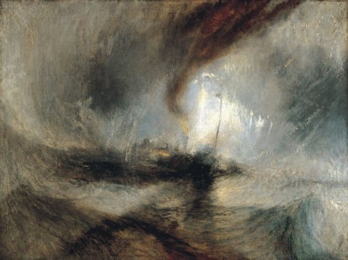 ויליאם טרנר, סופת שלג – ספינת קיטור שולחת אותות במים הרדודים מחוץ לפתח הנמל (1842) על התמונה הזאת ונסיבותיה כתבתי כאן== וגם כאן==.