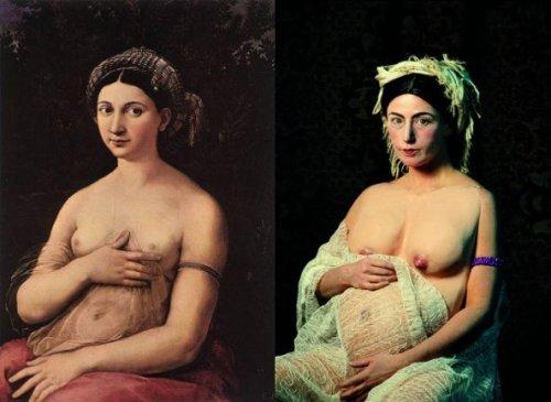 משמאל, לה פורנרינה, רפאל, 1520. מימין סינדי שרמן Untitled #205, 1989
