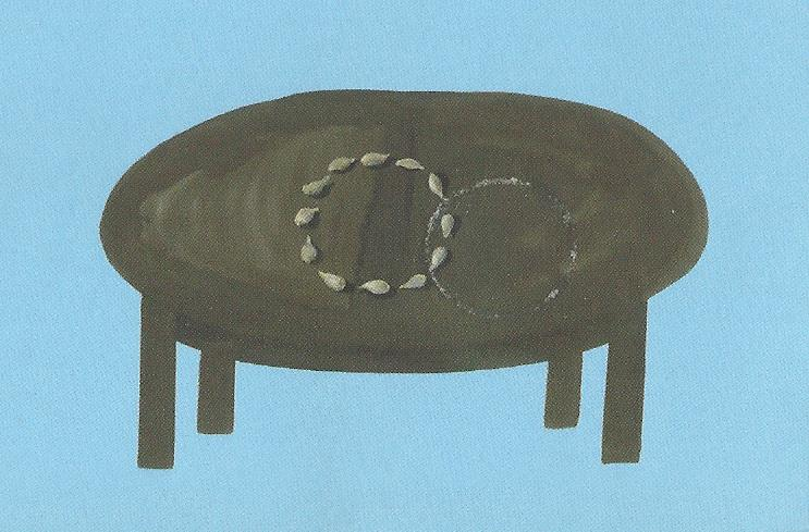 על העטיפה, טליה קינן, 2007, רישום דיו, צבעי שמן ומלח, A4. על השולחן גלעינים מסודרים במעגל, שמצטלב מעט במעגל דק יותר, מעין טביעה של כלי נעלם. שני המעגלים הם ספק שיירי זוגיות, ספק צמד אזיקים, ספק זוג עיגולים שנותרו מתוך איזו אולימפידה ביתית.