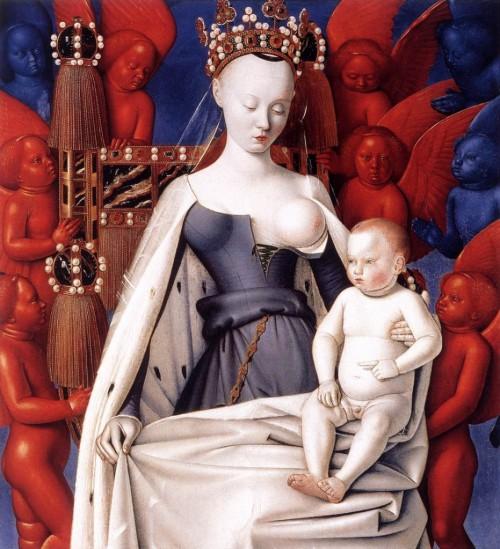 """ז'אן פוקה, מדונה מוקפת מלאכים מניקה את בנה התינוק (1450) (אולי על המלאכים האלה כתב פנחס שדה """"מלאכים כחולים, מלאכים אדומים, מלאכים של שיש וזהב"""") לחצו להגדלה"""