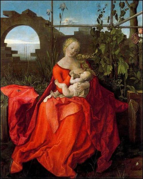 המדונה עם האירוס, סדנתו של אלברכט דורר, תחילת המאה השש עשרה.