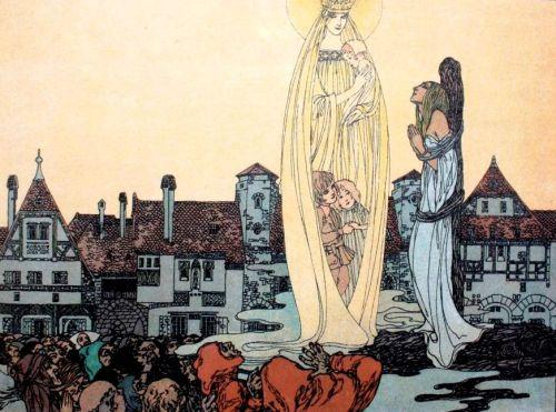 """האחים גרים, """"ילדתה של מריה"""", מריה מצילה את המלכה מהמוקד ומחזירה לה את הילדים שגזלה ממנה. איור:Heinrich Lefler  & Joseph Urban, 1904"""