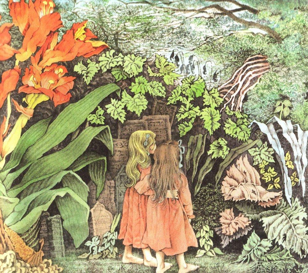"""מתוך """"מילי היקרה"""", מאת וילהלם גרים. מילי משחקת עם המלאך השומר שלה, המחופש לילדה. אייר מוריס סנדק. לחצו להגדלה"""