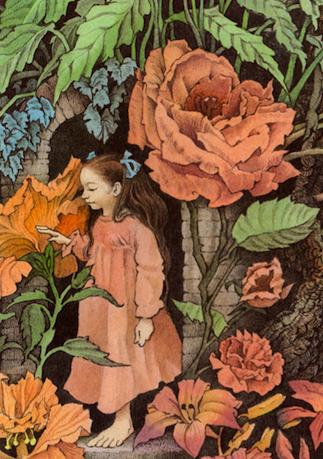 """פרחי ענק מתוך """"מילי היקרה"""" מאת וילהלם גרים, אייר מוריס סנדק (פרט)."""