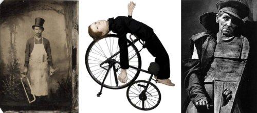 משמאל, קצב בסינר עם משור, סביבות 1875, באמצע ילד על אופניים, תדאוש קנטור, מימין, נגן רחוב מתוך ויילופולה ויילופולה של תדאוש קנטור
