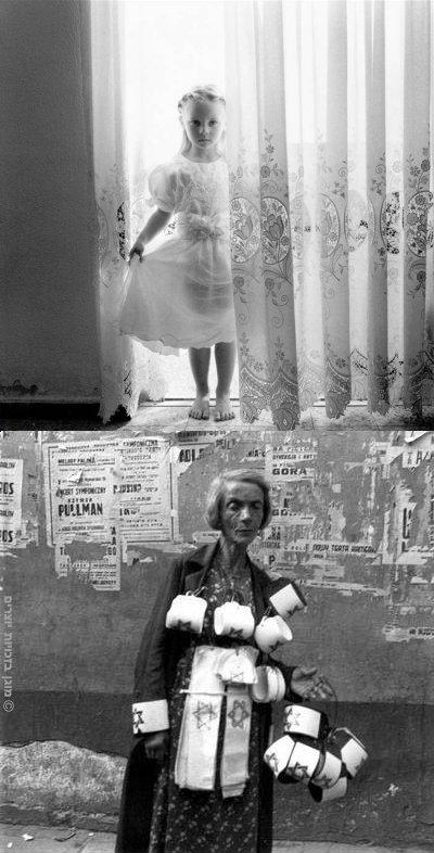למעלה - אנג'לינה, ישראל 2003, צילמה מיכל חלבין. למטה - מוכרת סרטים בגטו ורשה 19 בספטמבר 1941 צילם Heinz Joest