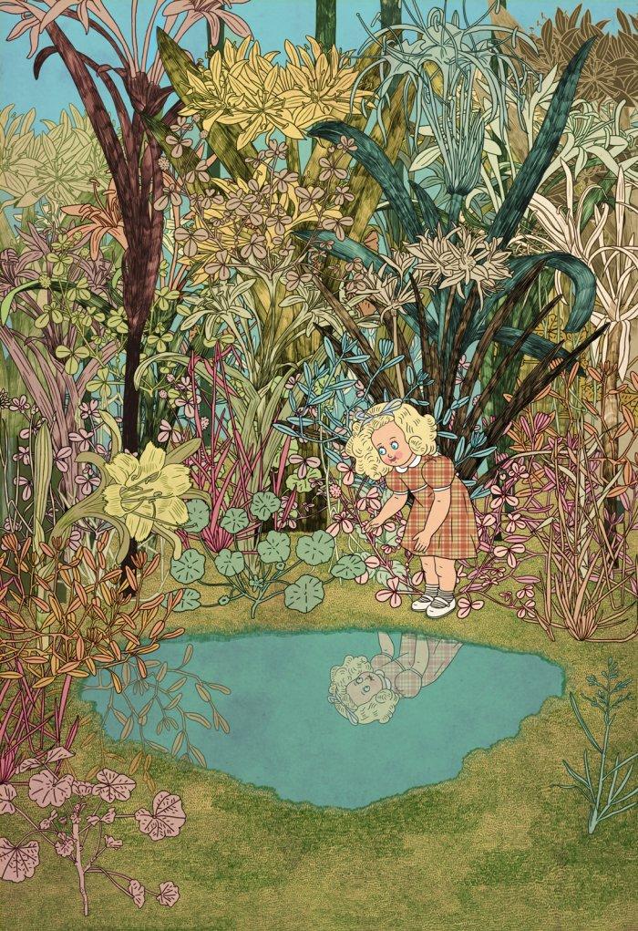 """אלישבע המתוקנת מתבוננת בבבואתה - רק היא משתקפת במים, לגמרי נרקיסית ומזכירה את הפרח הצהוב לשמאלה.  מתוך """"המסע אל האי אולי"""" מרים ילן שטקליס, איירה בתיה קולטון (לחצו להגדלה)"""