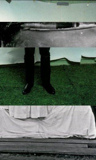 """מלמעלה למטה לפי הסדר: הקצה העליון של תצלום אנני ליבוביץ', הקצה העליון של תצלום """"כחול זקן"""", החלק התחתון של תצלום אנני ליבוביץ', החלק התחתון של תמונת """"כחול זקן"""""""