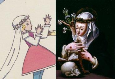 קתרינה הקדושה מסיינה מתוארת לא פעם כשראשה עטור בזר קוצים.