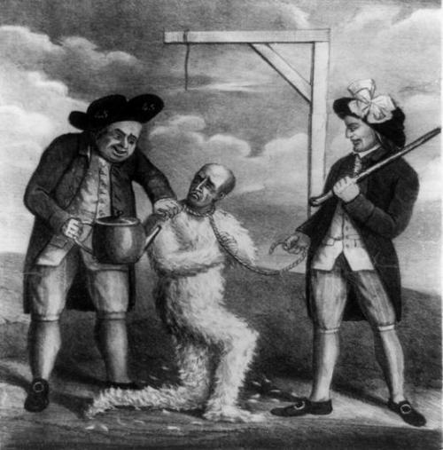 גלגול בזפת ונוצות, בארצות הברית השתמשו בזה עד שלב מאוחר, בעיקר נגד גובי מס, אבל לא רק.