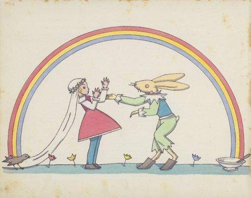 """""""כלתו של בן הארנבת"""", כך תרגם ביאליק את שם הסיפור. איור מתוקן למהדורה העברית, מאת תום זיידמן פרויד"""