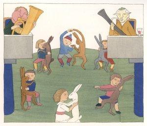 די די דידל דום/ אנחנו רוקדים עם הארנבים שלנו על דשא יפה וירוק X2 / מימין ומשמאל מנגנים, די די דידל דום / אנחנו רוקדים עם הארנבים שלנו בזוגות / על דשא ירוק ויפה. (מתוך, ספר הפסחא של כריסטיאן מורגנשטרן. תרגום מילולי, איקו שמחאי), אייר קרל אדמונד פון פרייהולד