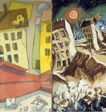 """בתים וירח: מימין, לודוויג מיידנר, מתוך סדרת """"נופים אפוקליפטיים"""", משמאל, תום זיידמן פרויד, מתוך """"מסע הדג"""""""