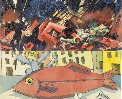 """זעקות ודגים אדומים: למעלה, לודוויג מיידנר, מתוך סדרת """"נופים אפוקליפטיים"""", למטה, תום זיידמן פרויד מתוך """"מסע הדג"""""""