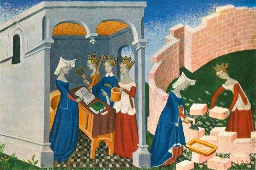 """איור לכתב יד של הספר """"עיר הגבירות"""" מאת כריסטין דה פיזן, המאה ה14"""