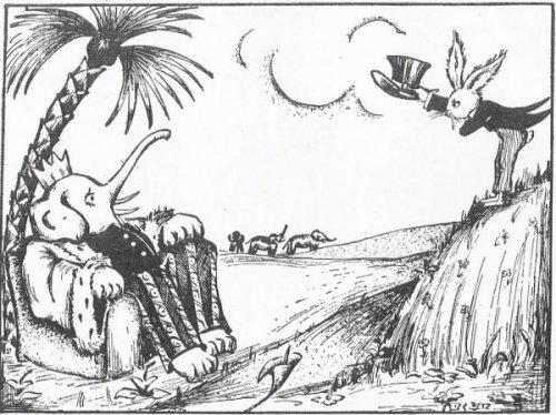 """""""הארנבת והפילים"""", איירה בינה גבירץ. ורק לשם הבהרה: אין זה ממנהגה של בינה גבירץ להלביש חיות. לשם השוואה בדקתי למשל את """"אוצר המְשָלים"""" שאיירה. גם שם החיות מתנהגות כבני אדם אבל לא עלה בדעתה להלביש אותן."""