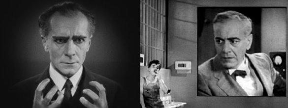 """משמאל, רודן מטרופוליס, גרסה אקספרסיוניסטית של הקפיטליסט של """"זמנים מודרניים"""" מימין."""