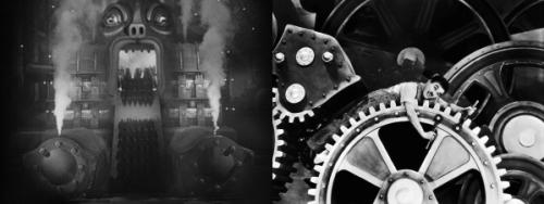 """משמאל, בהזיה של הגיבור נהפכת המכונה של """"מטרופוליס"""" למפלצת ענק שבולעת פועלים. מימין, צ'רלי צ'פלין נבלע על ידי המכונה ב""""זמנים מודרניים""""."""